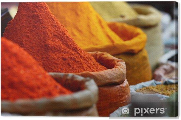 Canvas Traditionele specerijen markt in India - Kruiden