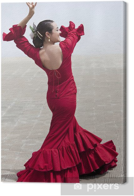 Canvas Traditionele Vrouw Spaanse Flamenco Dancer In Red Dress - Thema's