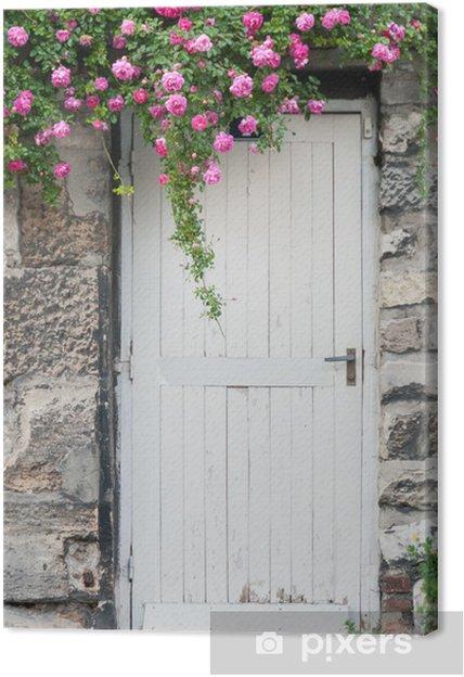 Canvas Trailing Roses on Garden Door -