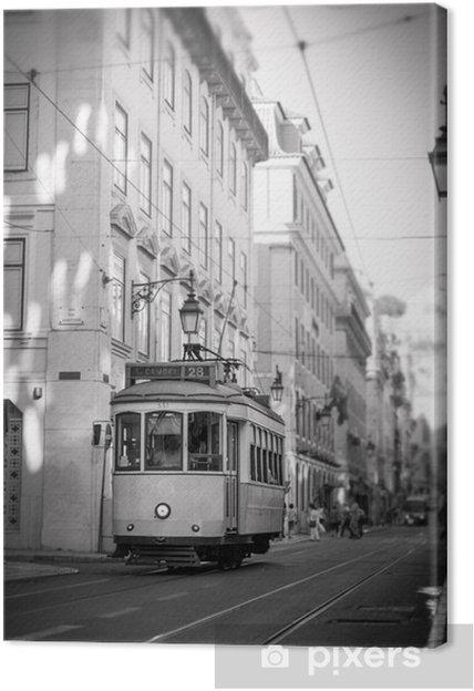 Canvas Tram in Lissabon, retro - Onderweg