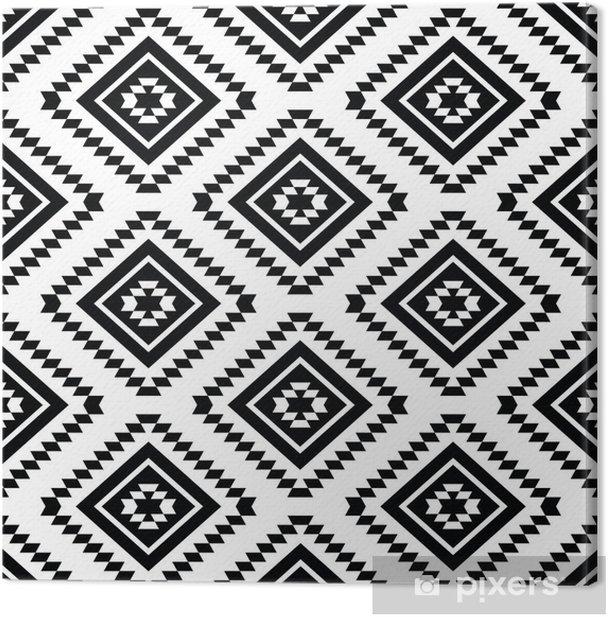 Canvas Tribal naadloze patroon - aztec zwarte en witte achtergrond - Stijlen