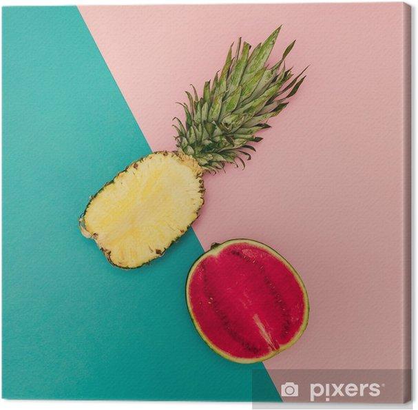 Canvas Tropical Mix. Ananas en watermeloen. minimalistische stijl - Levensstijl