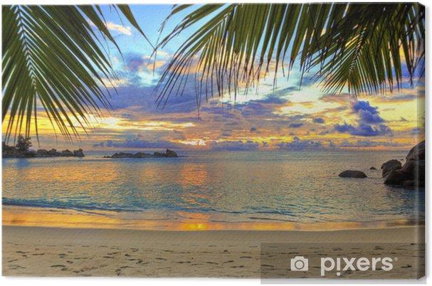 Canvas Tropisch strand bij zonsondergang - Thema's