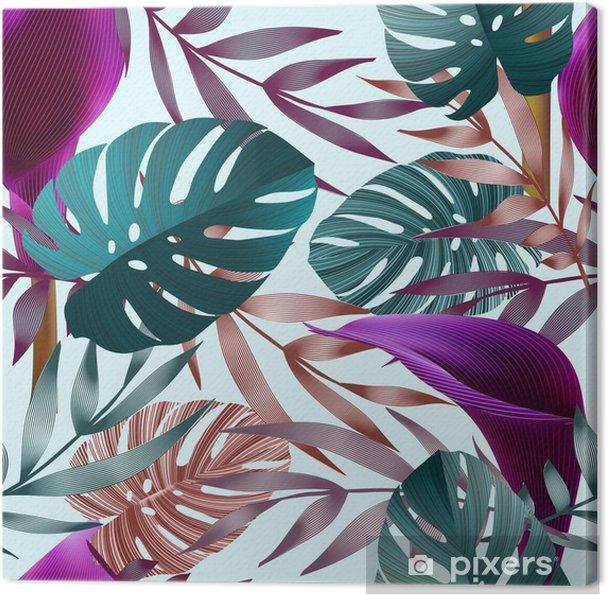 Canvas Tropische bloemen, jungle bladeren, paradijsvogel bloem. - Bloemen en Planten