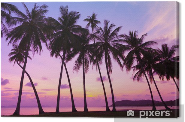 Canvas Tropische zonsondergang over zee met palmbomen, Thailand - Thema's