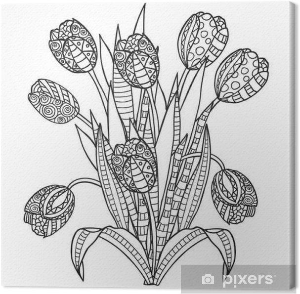 Kleurplaten Bloemen En Planten.Canvas Tulpen Bloemen Sier Zwart Wit Kleurplaten Pixers We