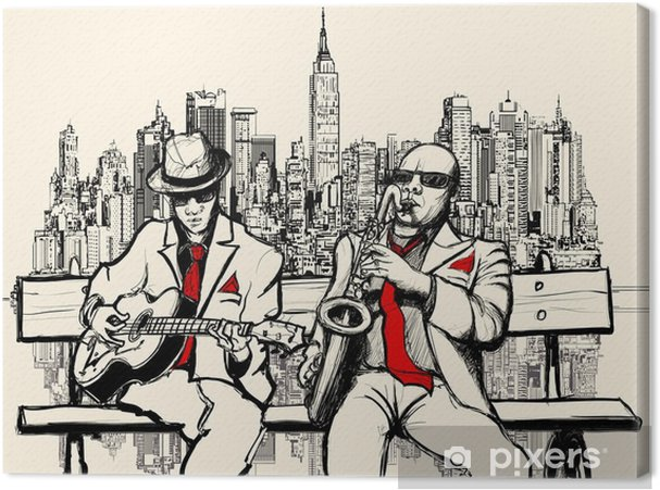 Canvas Twee jazz mannen spelen in New York - jazz