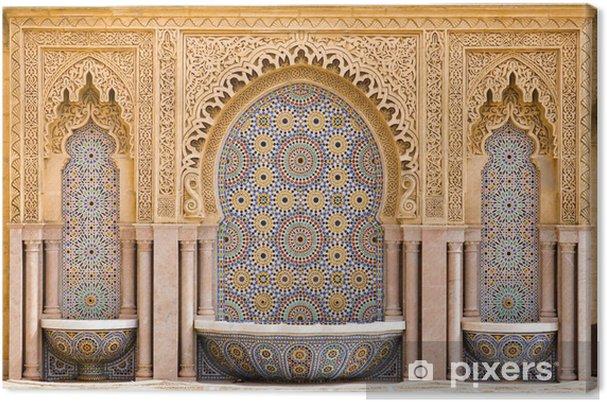 Canvas Typische Marokkaanse betegelde fontein in de stad van Rabat, nabij de H - Religie