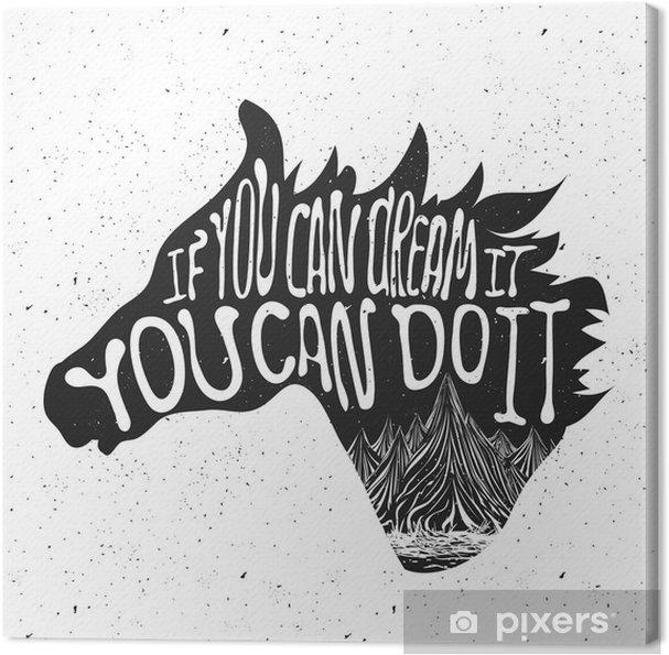 Canvas Typografie poster met paard hoofd silhouet en bergen - Dieren