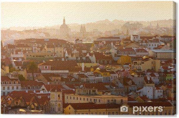 Canvas Uitzicht van Lissabon, Portugal bij zonsondergang - Europese steden