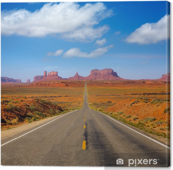 Canvas Uitzicht vanaf US 163 Scenic weg naar Monument Valley Utah - Thema's
