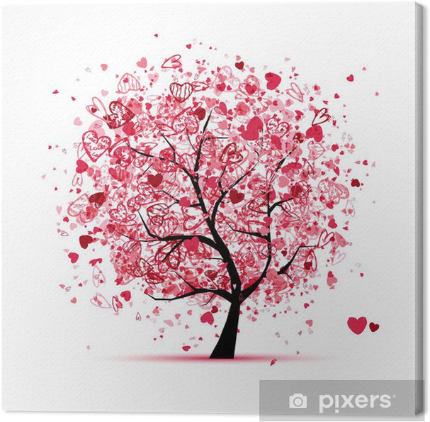 Canvas Valentine boom met hart voor uw ontwerp - Internationale Vieringen