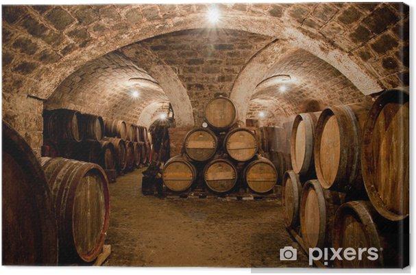 Canvas Vaten in een Hongaars wijnkelder - Alcohol