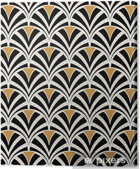 Canvas Vector bloemenart nouveau naadloos patroon. geometrische decoratieve bladeren textuur. retro stijlvolle achtergrond. - Grafische Bronnen