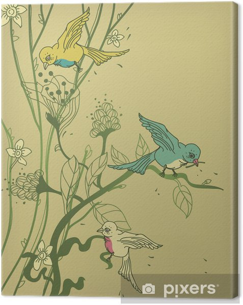 Canvas Vector boom met gekleurde vogels en bloemen - Denkbeeldig dieren