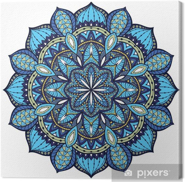Canvas Vector, elegant mandala, met ingewikkelde details. - Muursticker