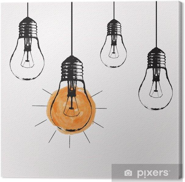 Canvas Vector grunge illustratie met opknoping lampen en plaats voor tekst. Modern hipster schets stijl. Uniek idee en creatief denken concept. - Gevoelens, Emoties en Staten van Geest