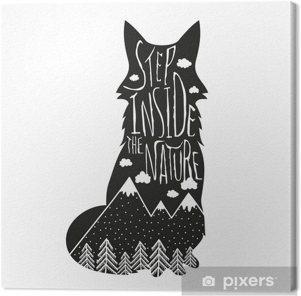 Canvas Vector hand getrokken letters illustratie. Stap binnen in de natuur. Typografie poster met vos, bergen, bos en wolken. - Dieren