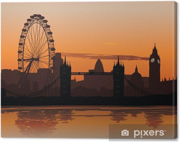 Canvas Vector illustratie van de Londense skyline bij zonsondergang - Thema's