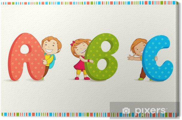 Canvas Vector illustratie van kinderen gluren behing ABC - Thema's