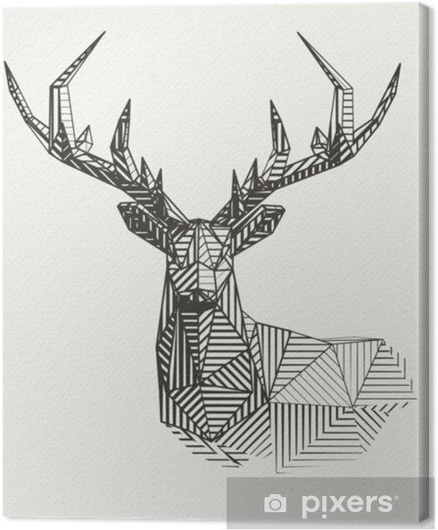 Canvas Vector laag poly lijntekeningen. geometrische rendieren illustratie. - Dieren