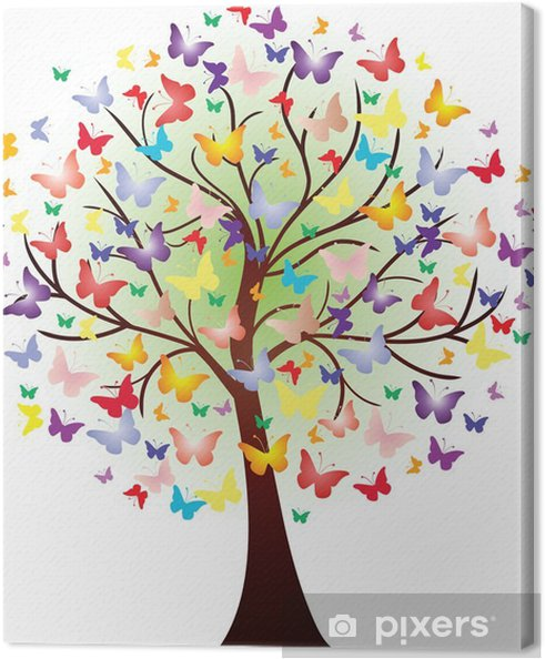 Canvas Vector prachtige lente boom, bestaande uit vlinders - Muursticker