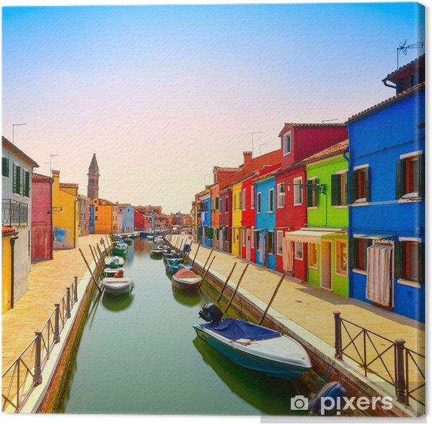 Canvas Venetië bezienswaardigheid, Burano eiland kanaal, kleurrijke huizen en boten, - Thema's