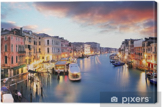 Canvas Venetië - Canal Grande van Rialto brug - Europese steden