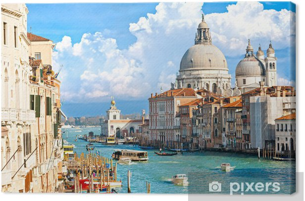 Canvas Venetië, uitzicht op Canal Grande en de basiliek van Santa Maria della sa - Thema's