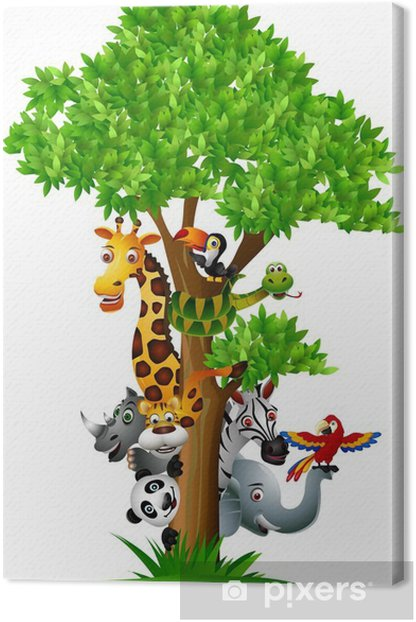 Canvas Verschillende grappige cartoon safari dieren te verbergen achter een boom - Muursticker