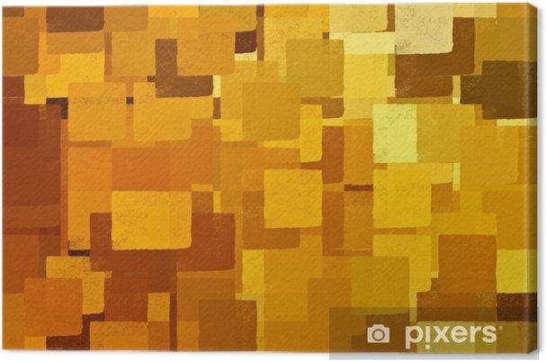Canvas Vierkante vormen bruin en geel. abstracte illustratie. - Hobby's en Vrije tijd