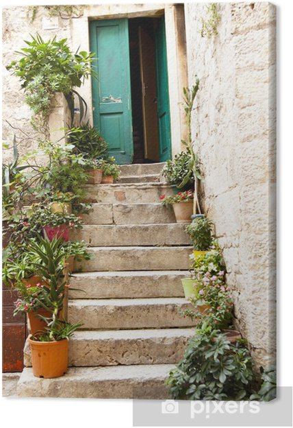 Canvas View on open green door - Trogir - Thema's