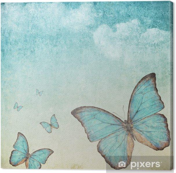 Canvas Vintage achtergrond met een blauwe vlinder - Stijlen