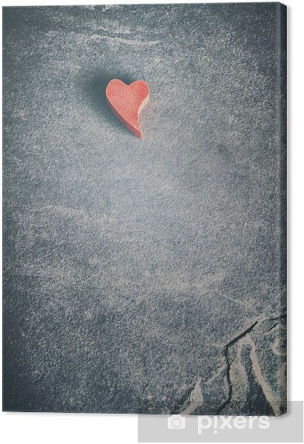Canvas Vintage afgezwakt houten rood hart op grunge steen achtergrond, ondiepe scherptediepte, ruimte voor tekst. - Grafische Bronnen