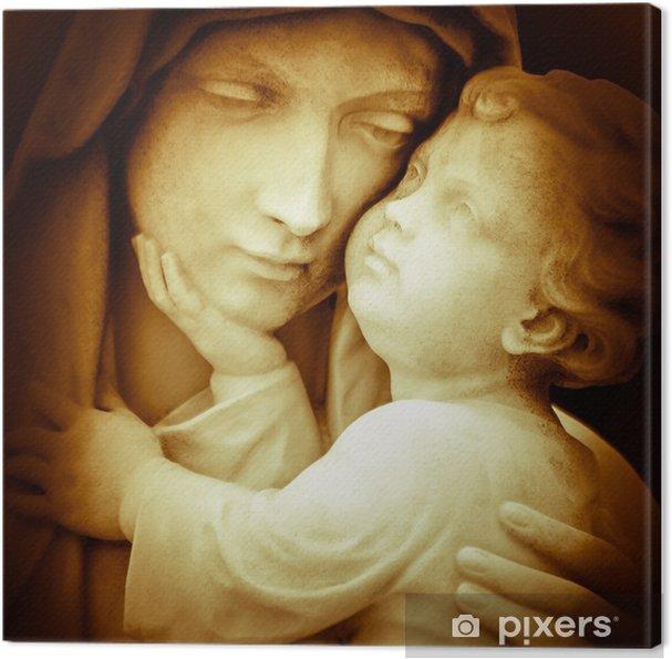 Canvas Vintage beeld van de maagd Maria dragende baby Jezus - Thema's
