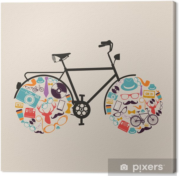 Canvas Vintage hipsters pictogrammen fiets. - Thema's