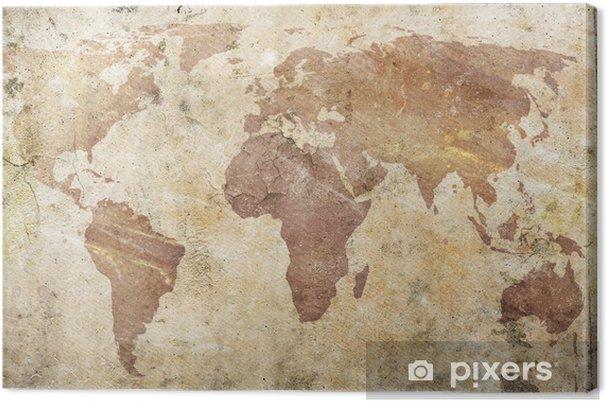 Canvas Vintage kaart van de wereld -
