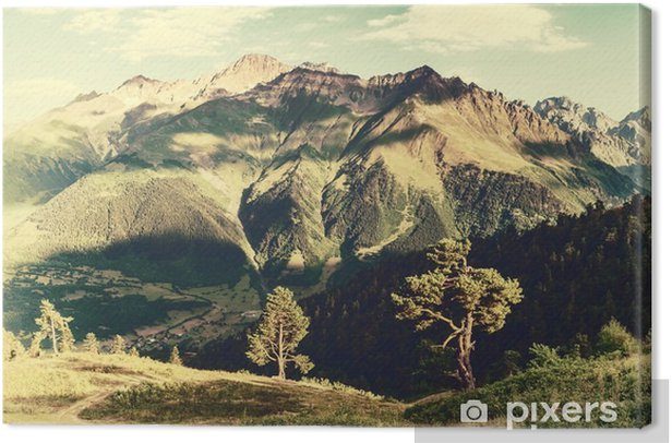 Canvas Vintage landschap met bomen en bergen - Landschappen