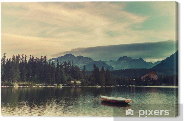 Canvas Vintage landschap met boten op een meer - Landschappen