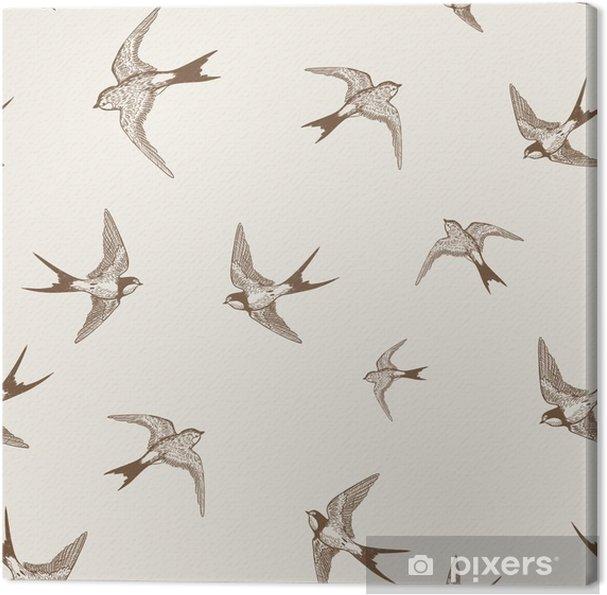 Canvas Vintage patroon met witte kleine zwaluwen - Andere Andere