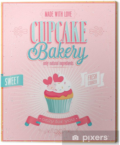 Canvas Vintage Poster Cupcake. Vector illustratie. - Verkoop