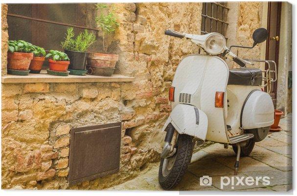 Canvas Vintage scène met Vespa op oude straat - Vespa