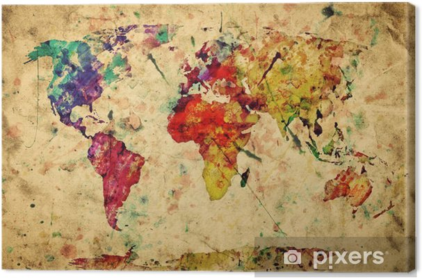 Canvas Vintage wereldkaart. Kleurrijke verf, aquarel op papier grunge -