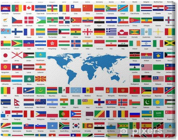 Canvas Vlaggen uit de hele wereld - Tekens en Symbolen