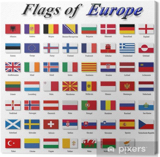 Canvas Vlaggen van Europa - Tekens en Symbolen
