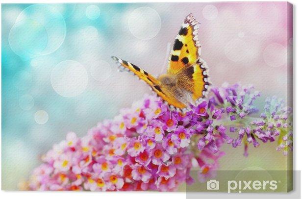 Canvas Vlinder op bloem - Thema's