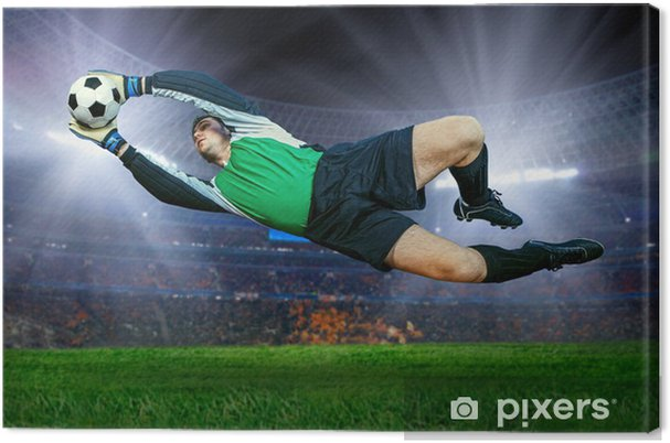 Canvas Voetbal doelman in actie op het veld van het stadion -