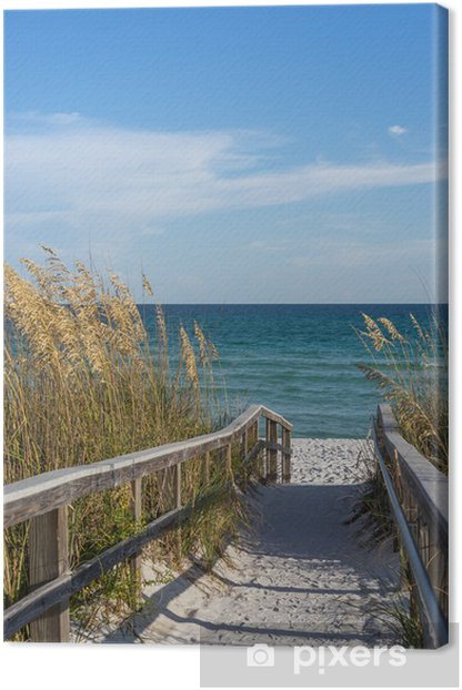 Canvas Voetpad naar het strand in het paradijs - Thema's