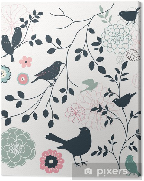 Canvas Vogel en bloem - Thema's