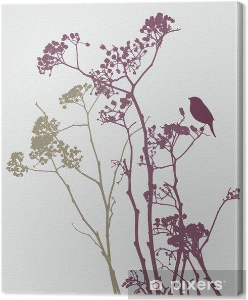 Canvas Vogel op weide bloemen - Bloemen en Planten
